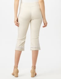 Pull On Crop Lace Hem Pants - Oatmeal - Back