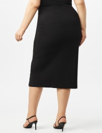 Scuba Crepe Side Slit Skirt With Button Trim Detail - Black - Back