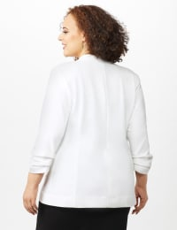 Open Front Collarless Cardigan With Ruched Sleeve - Plus - Sugar Swizzle - Back