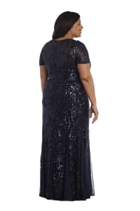 Short Sleeve Embroidered Sequin Panel Belted Gown - Navy - Back