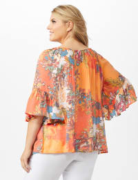 Textured Flounce Sleeve Bright Floral Top - Multi - Back