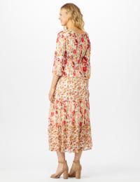 Mixed Ditsy Print Tiered Maxi Peasant Dress - Ivory/Orange - Back