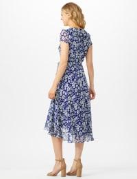 Floral Ruffle Neck Wrap Chiffon Dress - Blue Cream - Back
