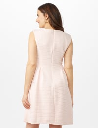 Textures Knit Dress with Embellished Neck - Peach - Back