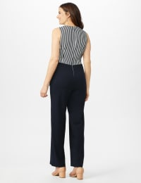 Faux Wrap Side Tie Jumpsuit - Navy/Ivory - Back