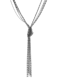 Shot Bead Knotted Tassel Necklace - Silver Plating - Back