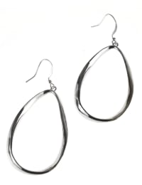 Casted Teardrop Earring on Fish Hook - Silver Plating - Back