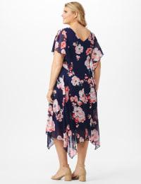 Floral Chiffon Drape Neck Hanky Hem Dress - Plus - Navy/Coral - Back