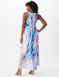 Watercolor Swirl Print Patio Dress - Black/Pink/Multi - Back
