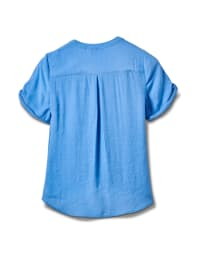 Pintuck Button Front Texture Shirt-Petite - Chambray - Back