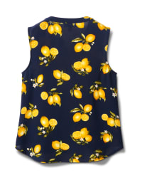 Sleevless Lemon Tie Front Blouse-Petite - Navy - Back
