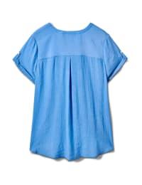 Pintuck Texture Button Front Shirt - Chambray - Back