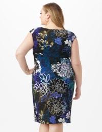 Faux Wrap Floral Print Side Rush Dress - Dark Periwinkle - Back