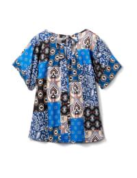 Back Self Tie Patchwork Knit Top - Misses - Blue - Back
