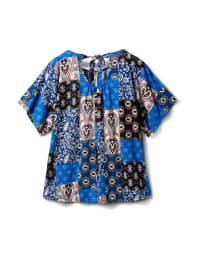 Back Self Tie Patchwork Knit Top - Plus - Blue - Back