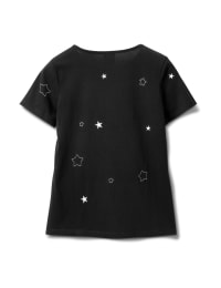 Embroidered Star Knit Tee - Black - Back