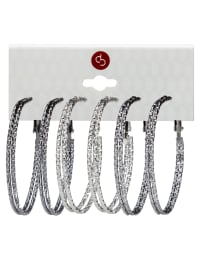 Trio Oval Clutchless 2 Row Textured Hoop - Rhodium/Hematite/Jet - Back