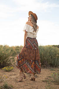 Elastic Waistband Pullon 3 Tiered Maxi Skirt - Copper - Back