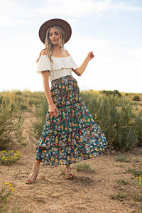 3 Tiered Maxi Skirt - Elastic Pullon Waistband - Moroccan Blue - Back