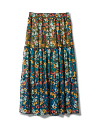 Plus 3 Tiered Maxi Skirt - Moroccan Blue - Back