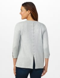 Roz & Ali Lace-Up Back Cardigan - Misses - Light Heather Grey - Back