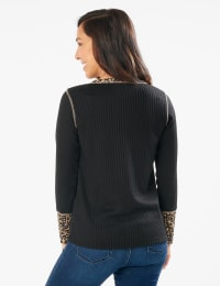 Animal Trim Curved Hem Knit Pullover Top - Misses - Black - Back