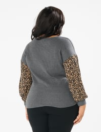 Y Henley Mixed Animal Thermal Knit Top - Plus - Grey - Back