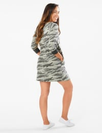 Camouflage Knit Dress - Misses - Charcoal - Back