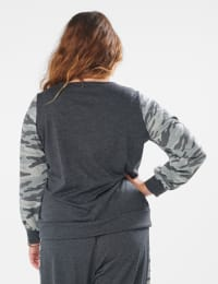 Camouflage Mixed Print Knit Top - Plus - Charcoal - Back