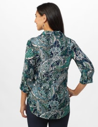 "Paisley ""To Tie Or Not To Tie"" Button Front Shirt - Misses - Navy - Back"