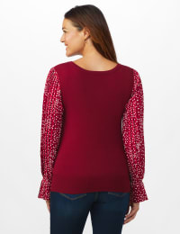 Roz & Ali Pleated Sleeve Pullover Sweater - Misses - Burgundy - Back