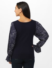 Roz & Ali Pleated Sleeve Pullover Sweater - Misses - Navy - Back