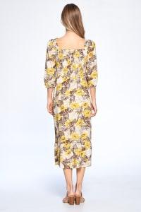 Floral Print Everyday Dress - Mustard - Back
