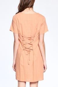 Drawstring Back Night Dress - Dusty Coral - Back