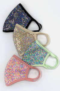 Sequin Printed Fashion Face Mask - Mint - Back
