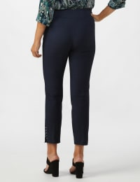 Roz & Ali Solid Superstretch Tummy Panel Pull On Ankle Pants With Rivet Trim Bottom - Misses - Dark Denim - Back