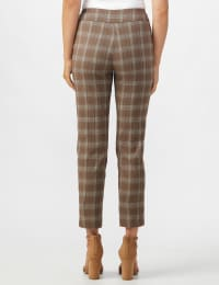 Roz & Ali Yarn Dye Plaid Pull On Waist Ankle Pant - Taupe - Back