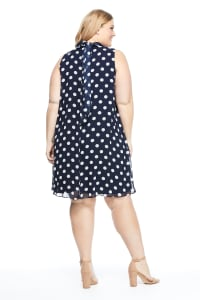 Mock Neck Dot Dress - Navy/White - Back