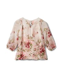 Petite Floral Border Pleated Blouse - Tan/Mauve - Back