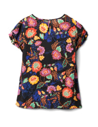 Keyhole Back Bright Floral Blouse - Black Floral - Back