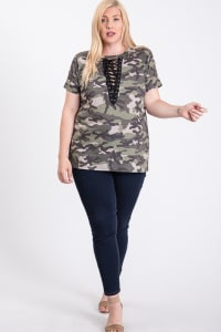 Not So Basic Camo Print Tee - Camo - Back