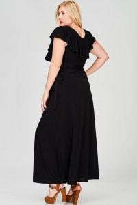 Ruffled Wrap Maxi Dress - Black - Back
