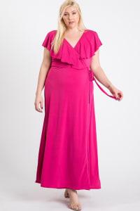 Ruffled Wrap Maxi Dress - fushia - Back