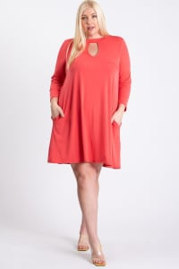 Always Ready Comfy Dress - Coral - Back