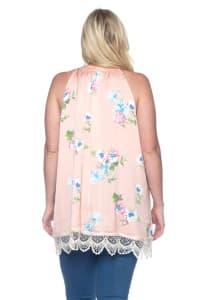 Floral Satin Top - Pink - Back