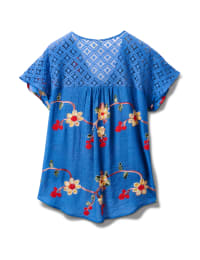 Embroidered Tie Front Blouse With Crochet - Plus - Chambray - Back
