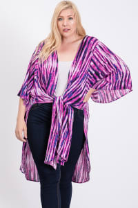 Ready to Roll Long Kimono - Fuchsia - Back