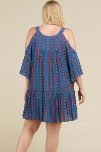 Stripe x Print Short Dress - Denim Blue - Back