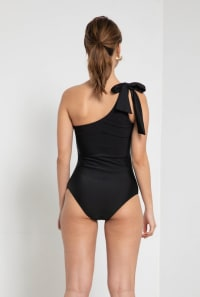 Tie Shoulder Romantic Swimsuit - Black - Back