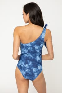 Tie Shoulder Romantic Swimsuit - Blue Tie Dye - Back